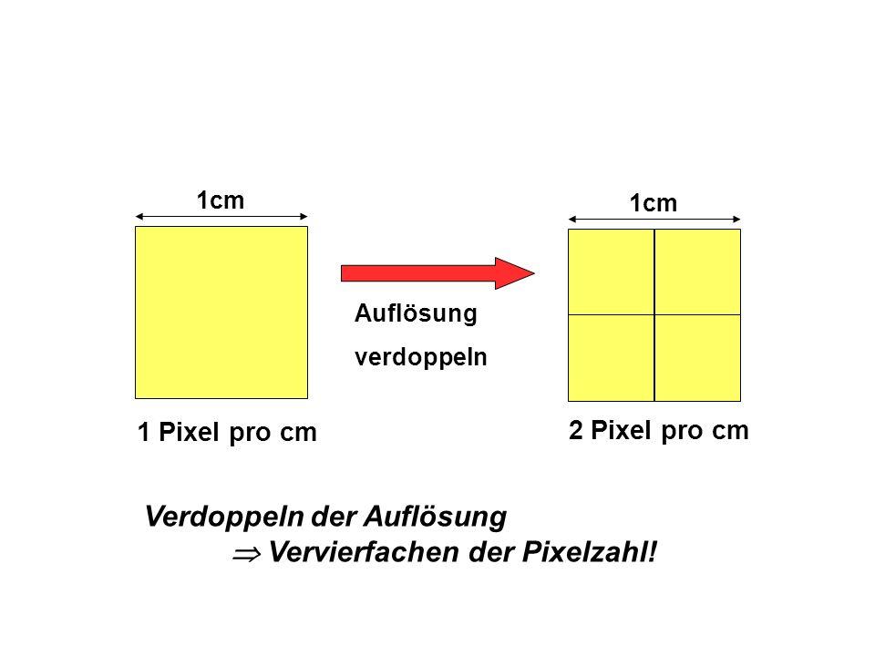 Verdoppeln der Auflösung  Vervierfachen der Pixelzahl!