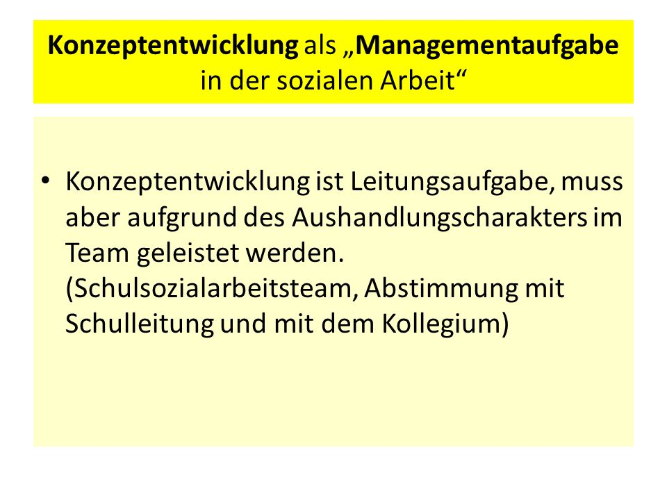 """Konzeptentwicklung als """"Managementaufgabe in der sozialen Arbeit"""