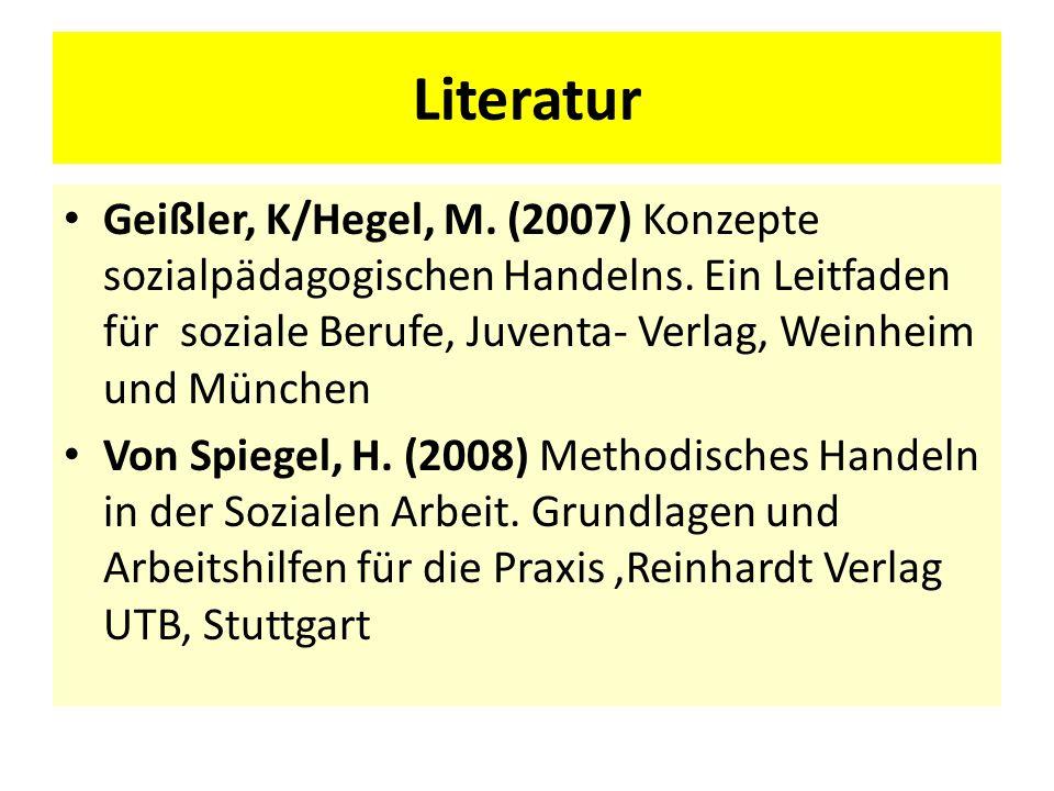 Literatur Geißler, K/Hegel, M. (2007) Konzepte sozialpädagogischen Handelns. Ein Leitfaden für soziale Berufe, Juventa- Verlag, Weinheim und München.