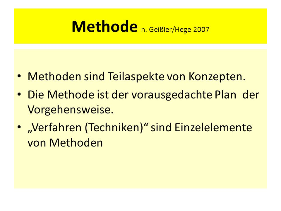 Methode n. Geißler/Hege 2007