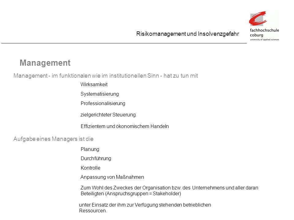 Management Risikomanagement und Insolvenzgefahr
