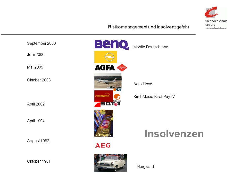 Insolvenzen Risikomanagement und Insolvenzgefahr September 2006