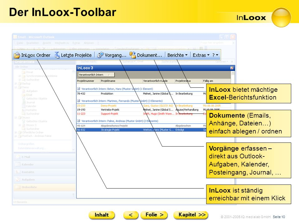 Der InLoox-Toolbar InLoox bietet mächtige Excel-Berichtsfunktion