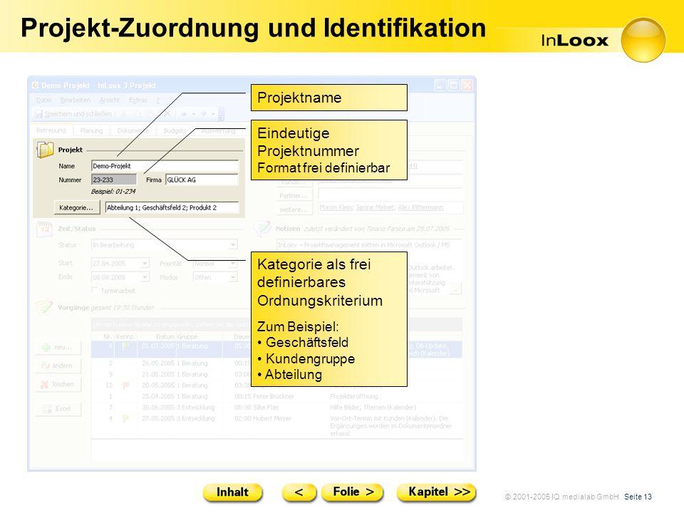 Projekt-Zuordnung und Identifikation