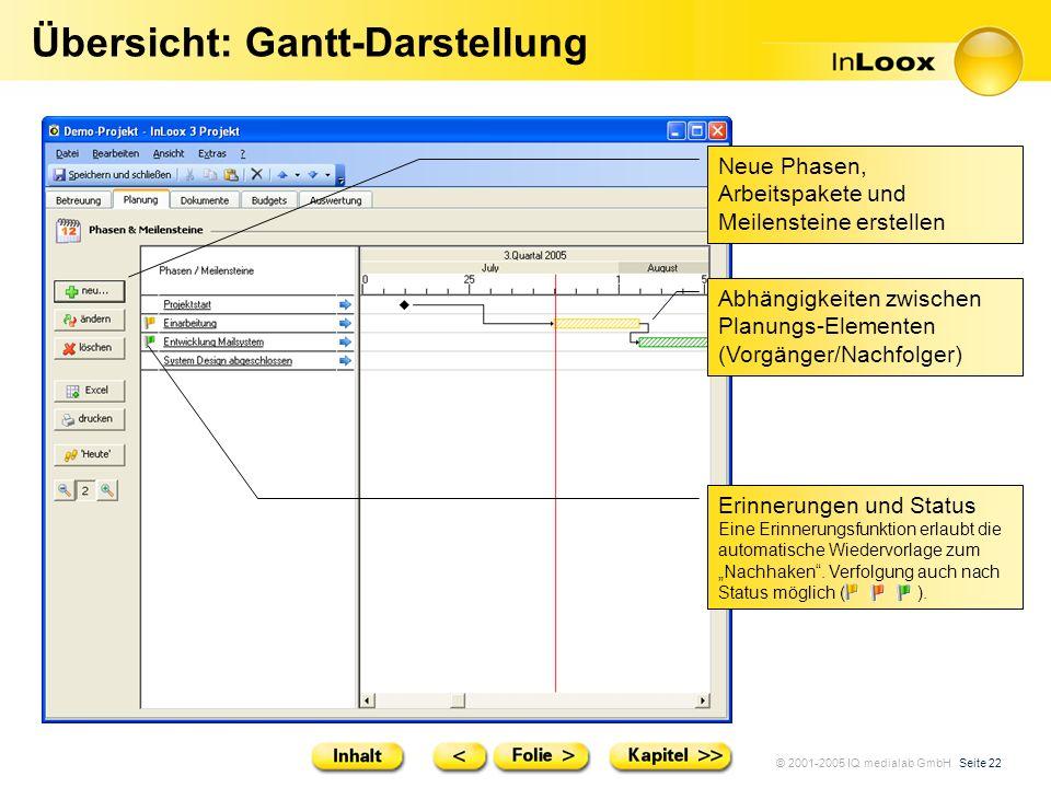 Übersicht: Gantt-Darstellung