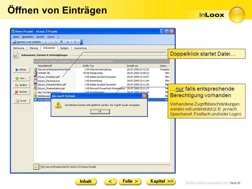 Öffnen von Einträgen Doppelklick startet Datei…