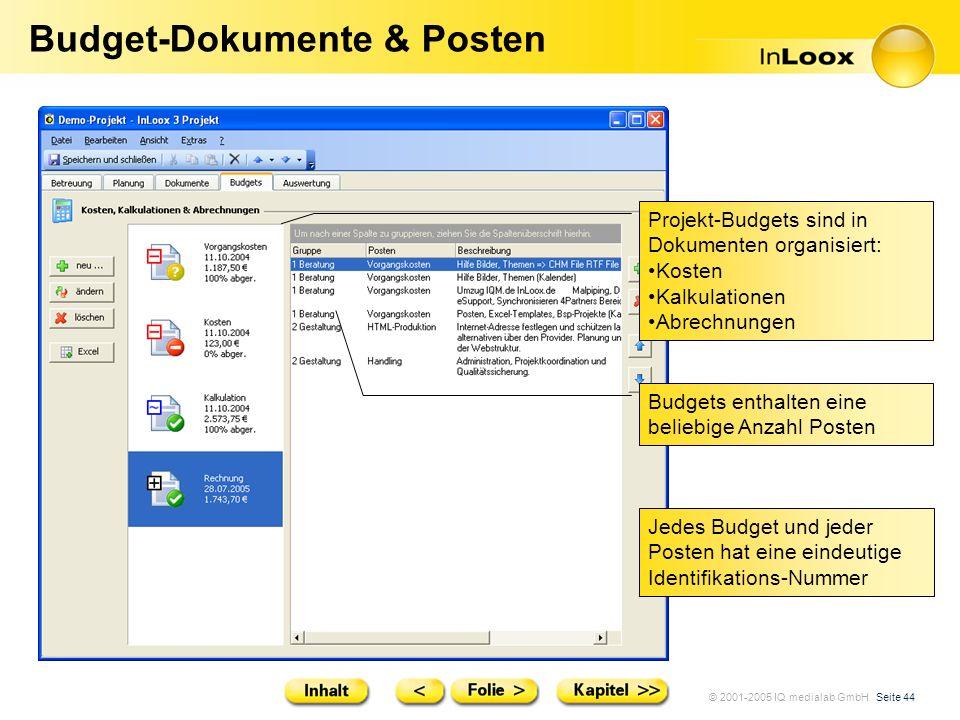 Budget-Dokumente & Posten