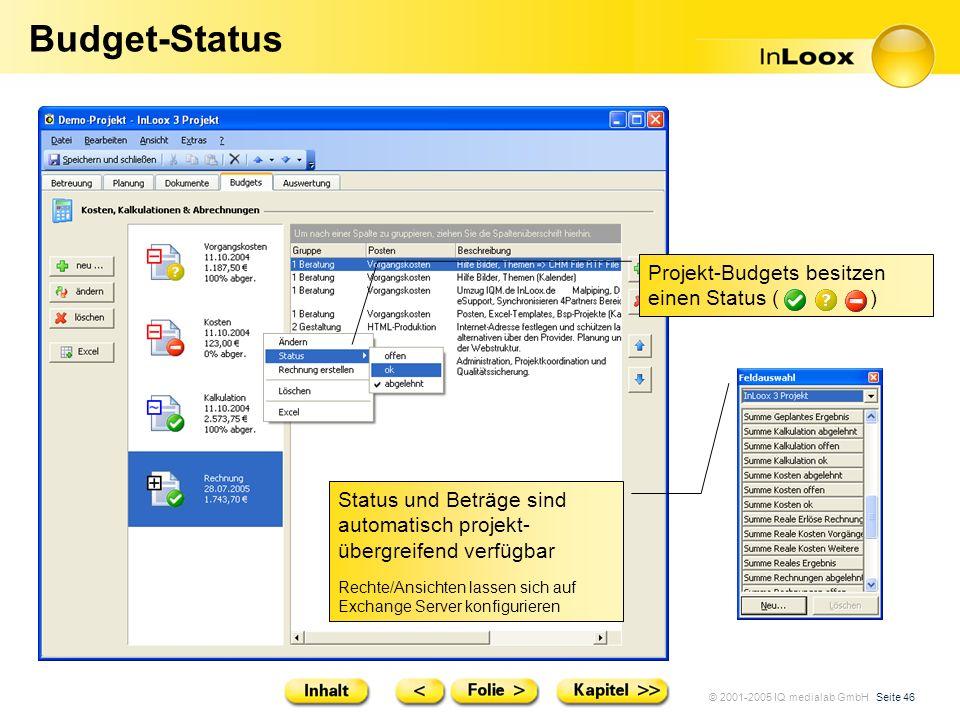 Budget-Status Projekt-Budgets besitzen einen Status ( )