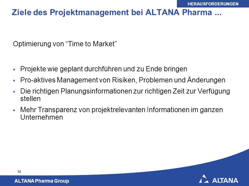 Ziele des Projektmanagement bei ALTANA Pharma ...