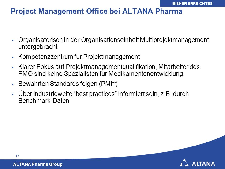 Project Management Office bei ALTANA Pharma