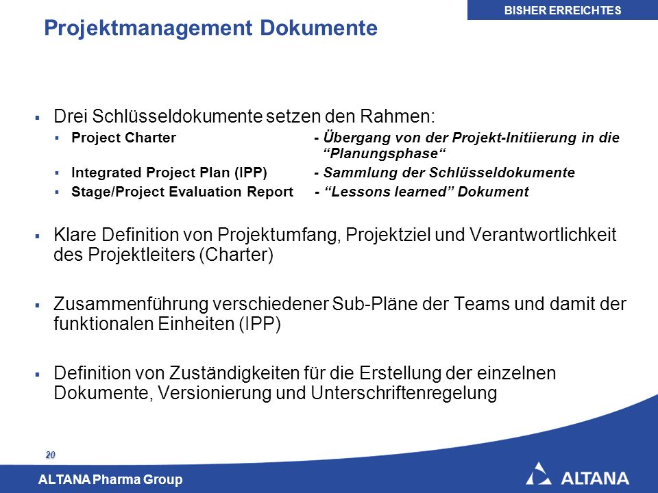 Projektmanagement Dokumente