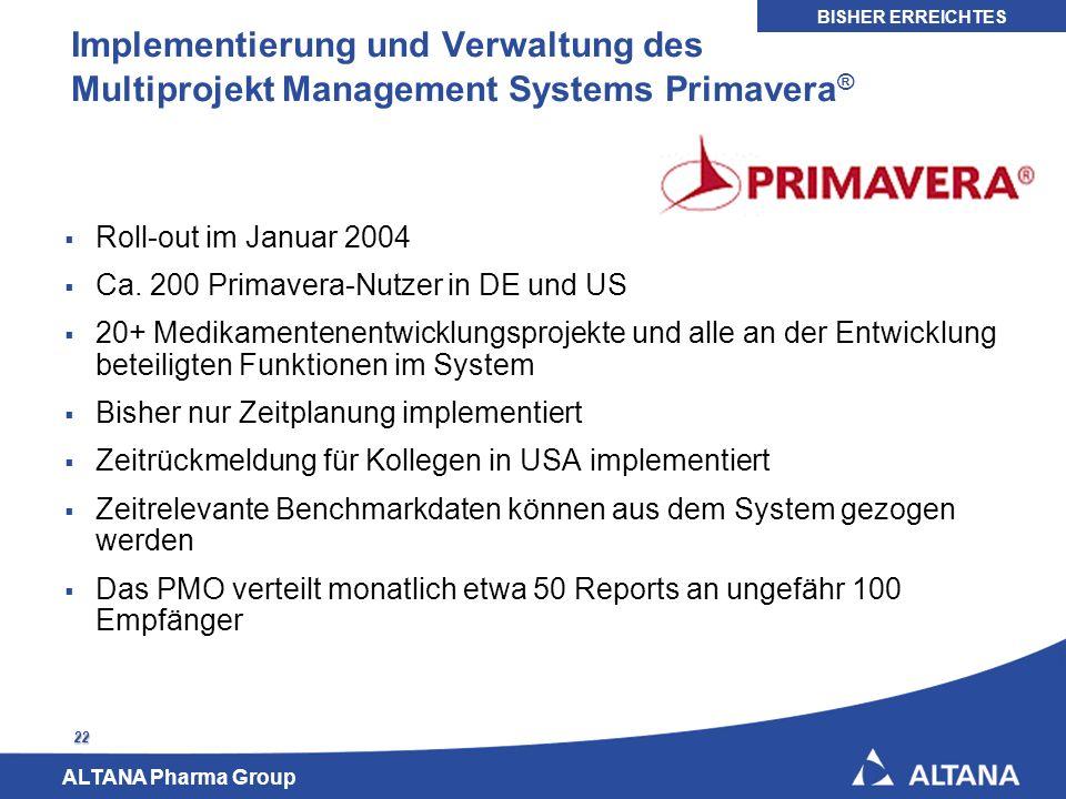 BISHER ERREICHTES Implementierung und Verwaltung des Multiprojekt Management Systems Primavera® Roll-out im Januar 2004.