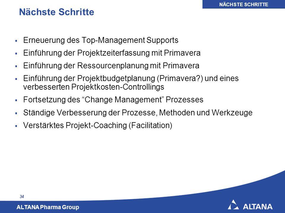 Nächste Schritte Erneuerung des Top-Management Supports