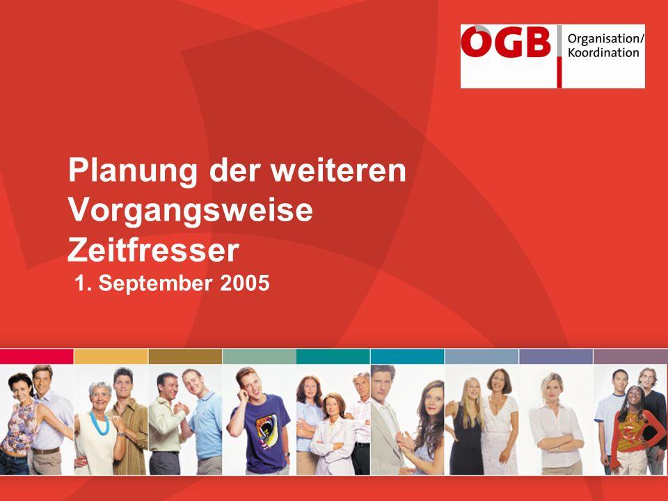 Planung der weiteren Vorgangsweise Zeitfresser 1. September 2005