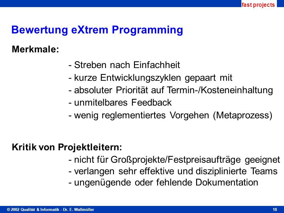 Bewertung eXtrem Programming