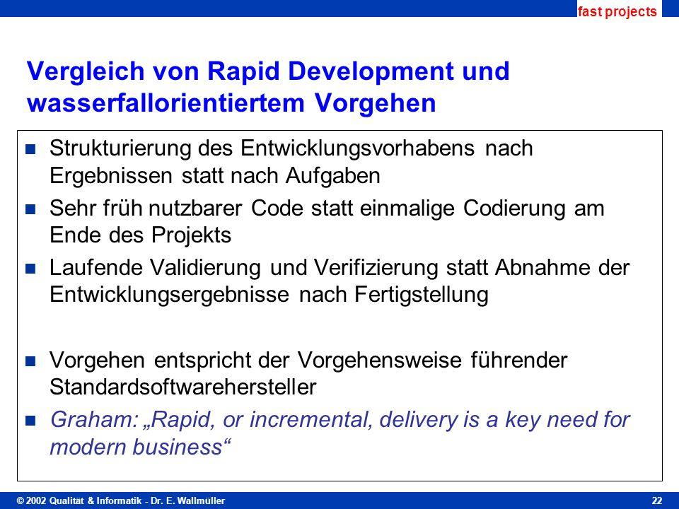 Vergleich von Rapid Development und wasserfallorientiertem Vorgehen