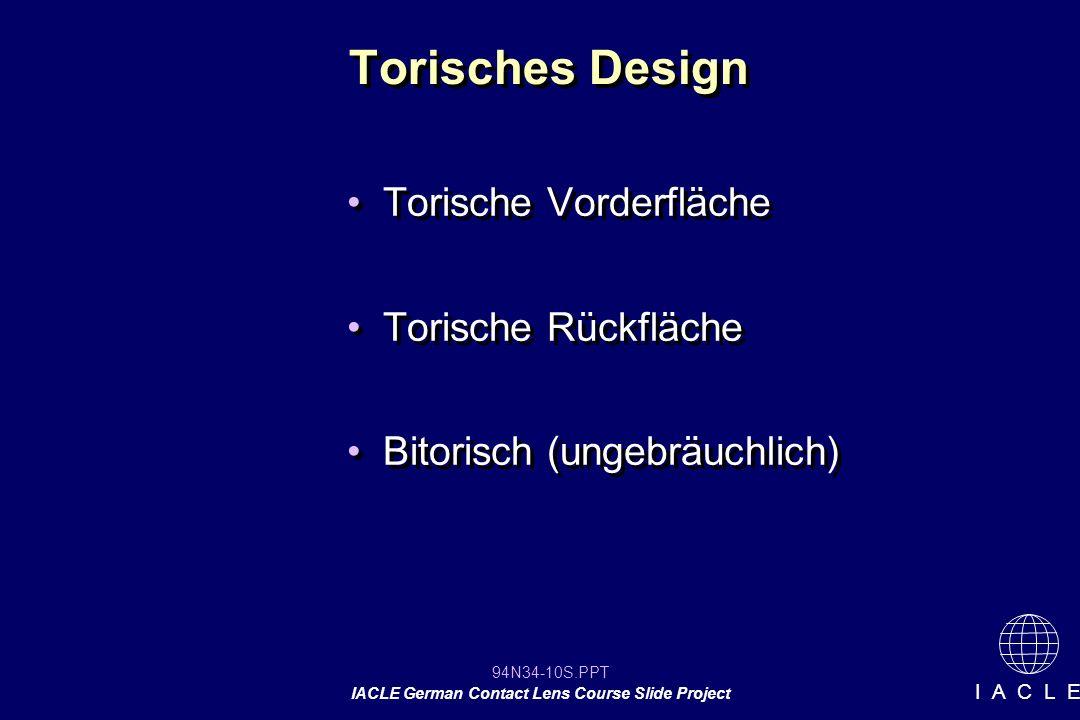 Torisches Design Torische Vorderfläche Torische Rückfläche