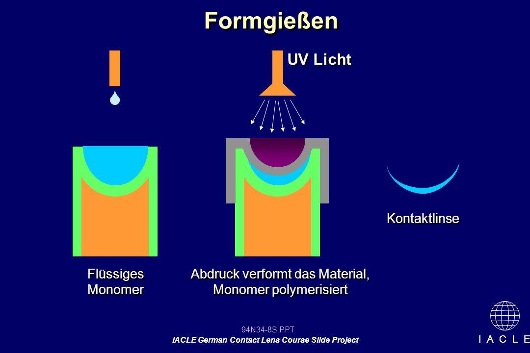 Abdruck verformt das Material, Monomer polymerisiert