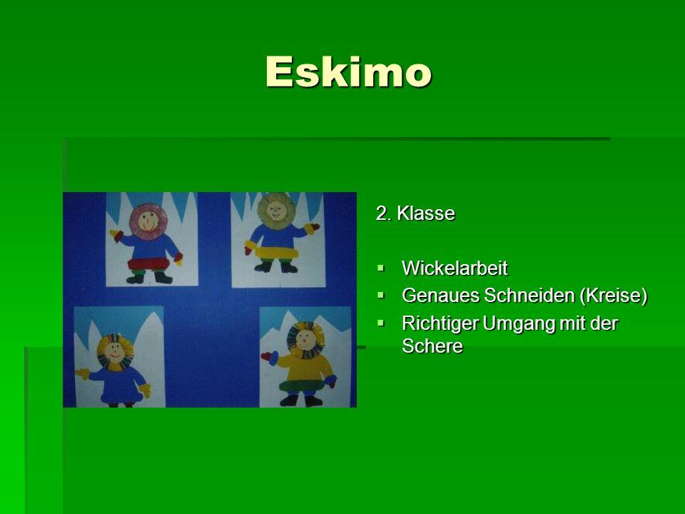 Eskimo 2. Klasse Wickelarbeit Genaues Schneiden (Kreise)