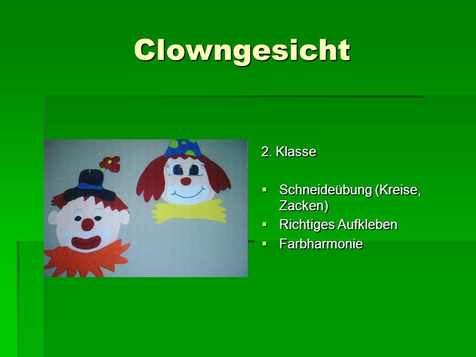 Clowngesicht 2. Klasse Schneideübung (Kreise, Zacken)