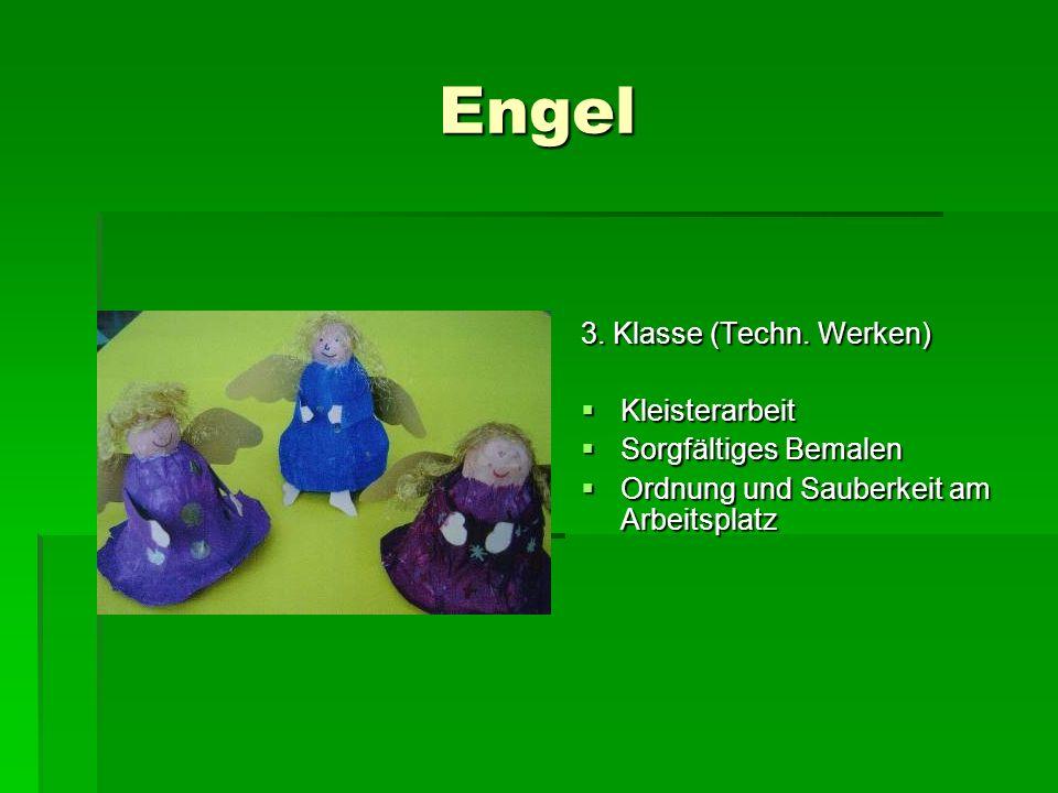 Engel 3. Klasse (Techn. Werken) Kleisterarbeit Sorgfältiges Bemalen