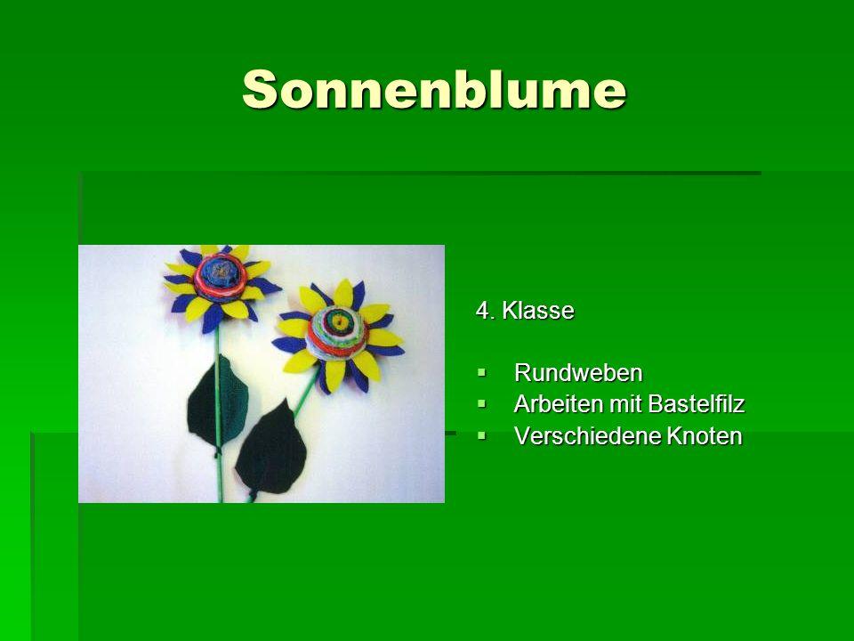 Sonnenblume 4. Klasse Rundweben Arbeiten mit Bastelfilz