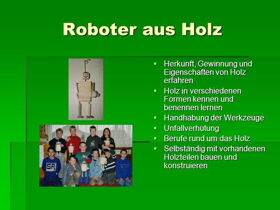 Roboter aus Holz Herkunft, Gewinnung und Eigenschaften von Holz erfahren. Holz in verschiedenen Formen kennen und benennen lernen.