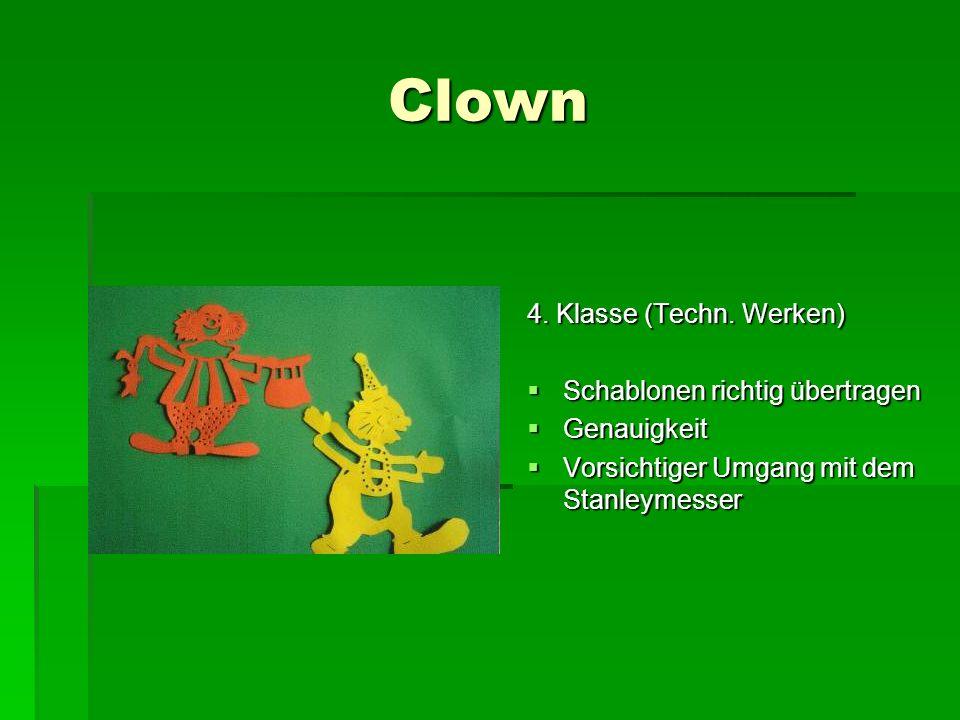 Clown 4. Klasse (Techn. Werken) Schablonen richtig übertragen