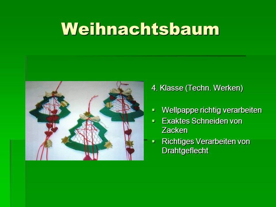 Weihnachtsbaum 4. Klasse (Techn. Werken) Wellpappe richtig verarbeiten
