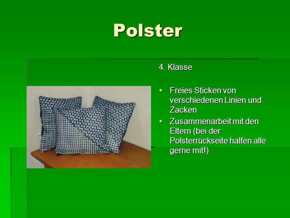 Polster 4. Klasse Freies Sticken von verschiedenen Linien und Zacken