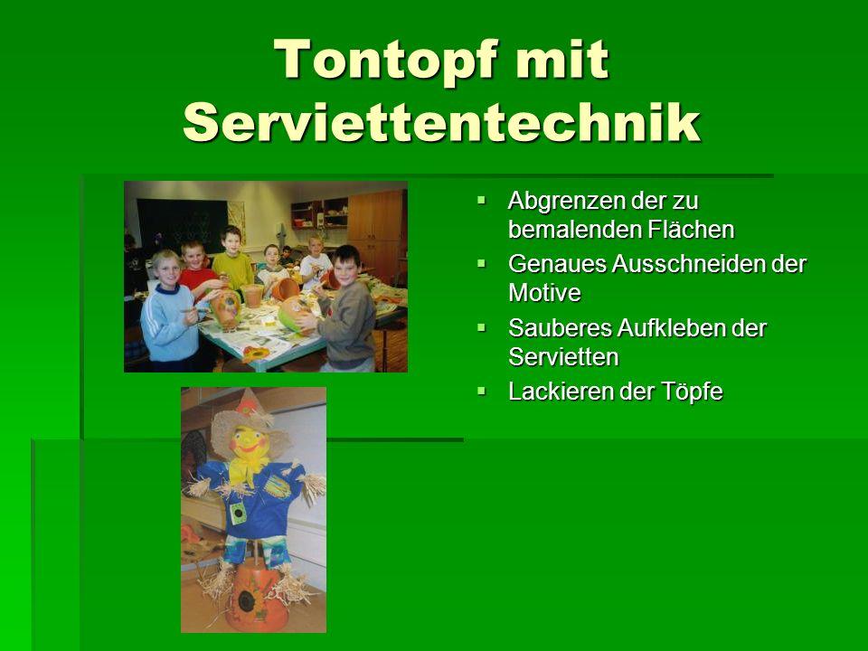 Tontopf mit Serviettentechnik