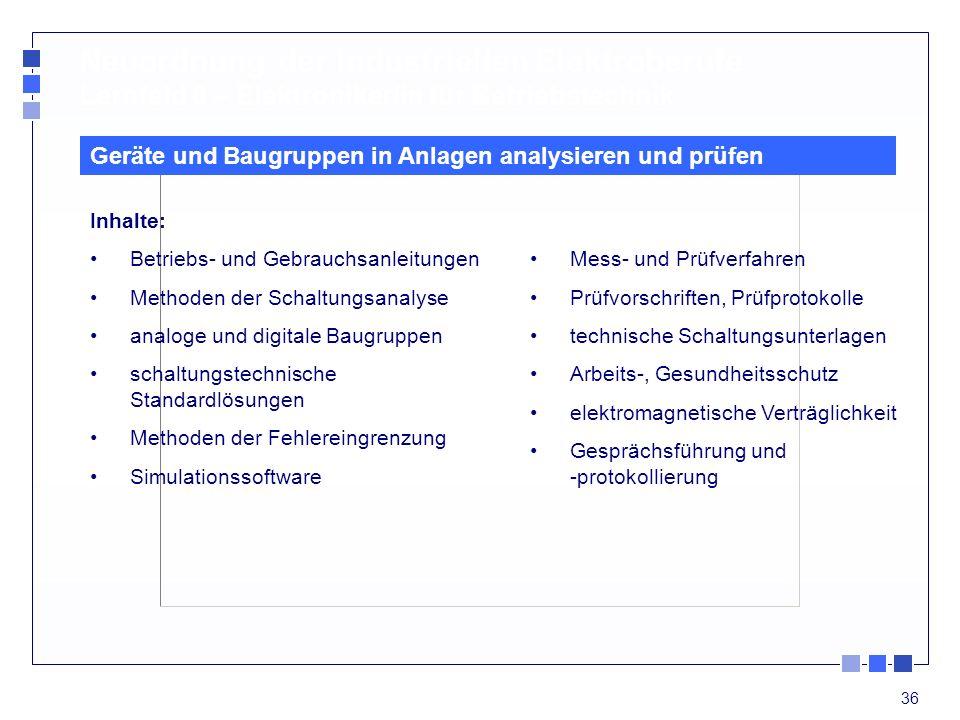 Neuordnung der industriellen Elektroberufe Lernfeld 6 – Elektroniker/in für Betriebstechnik