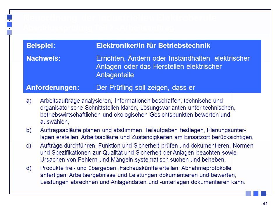 Neuordnung der industriellen Elektroberufe Abschlussprüfung Teil 2 - Arbeitsauftrag