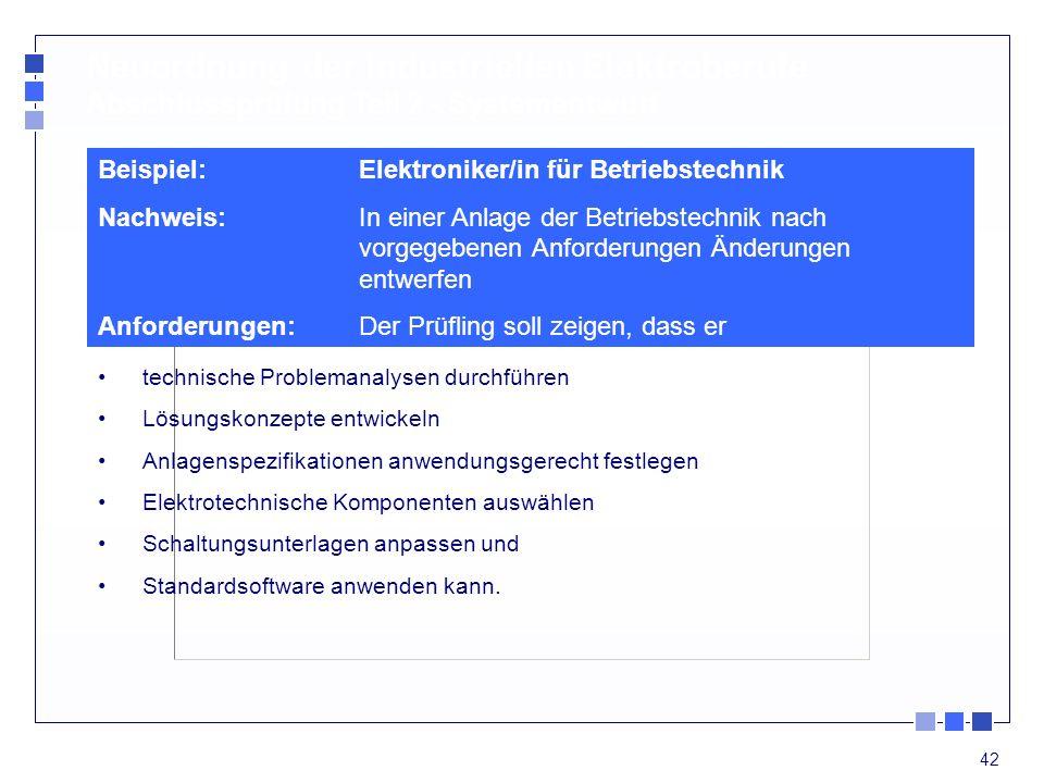 Neuordnung der industriellen Elektroberufe Abschlussprüfung Teil 2 - Systementwurf