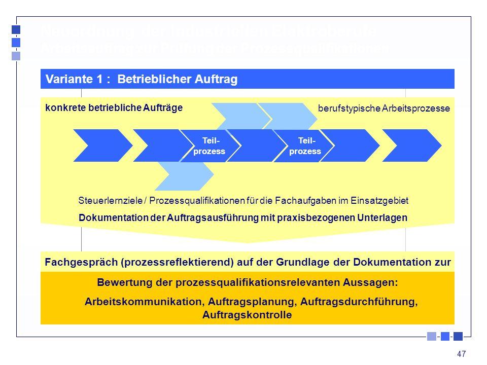 Neuordnung der industriellen Elektroberufe Arbeitsauftrag zur Prüfung der Prozessqualifikationen