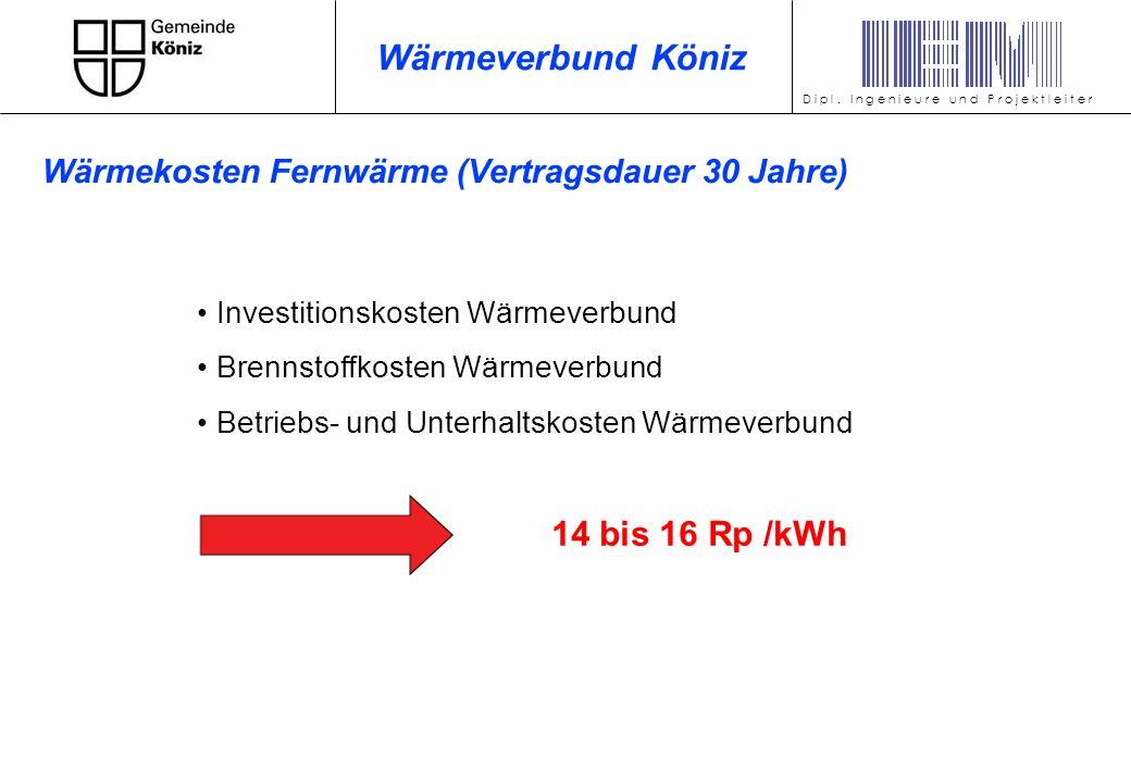 Wärmeverbund Köniz 14 bis 16 Rp /kWh