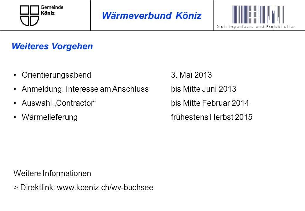 Wärmeverbund Köniz Weiteres Vorgehen Orientierungsabend 3. Mai 2013
