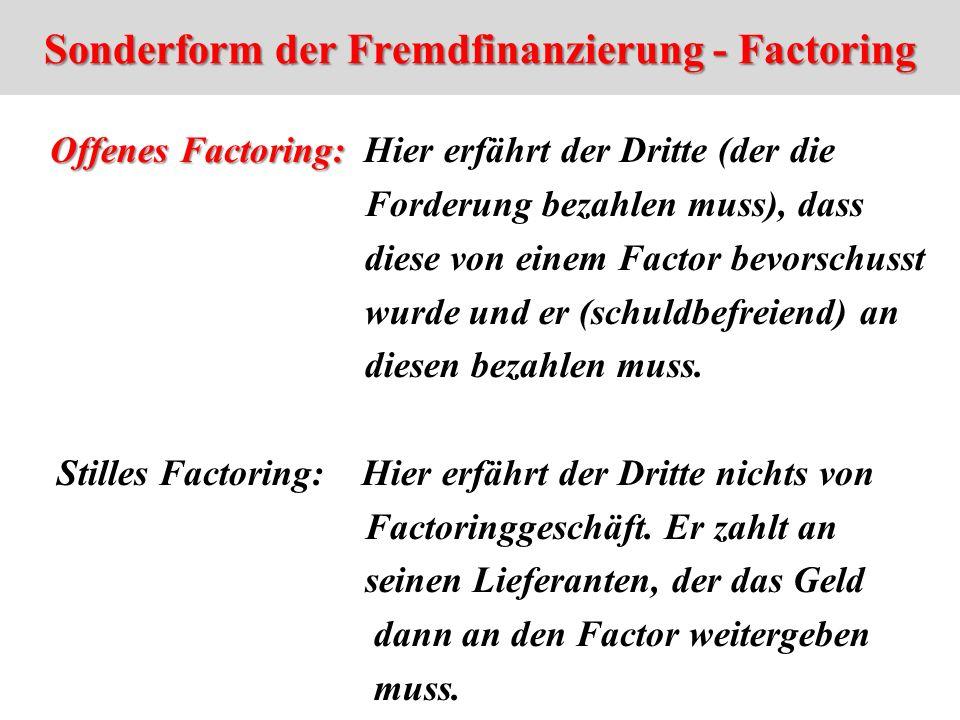 Sonderform der Fremdfinanzierung - Factoring