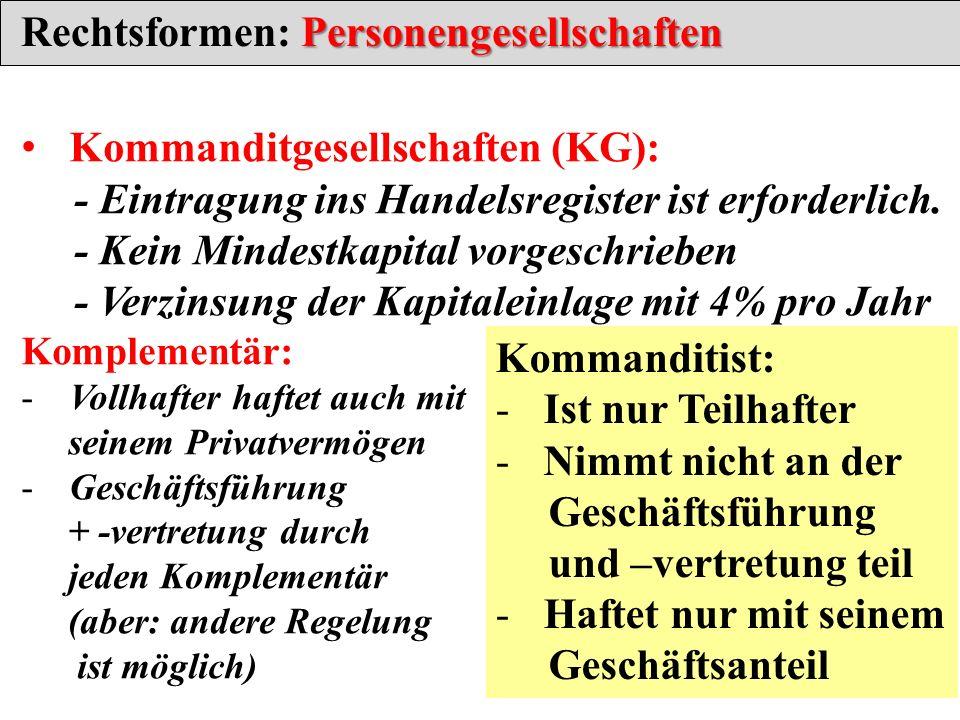Rechtsformen: Personengesellschaften