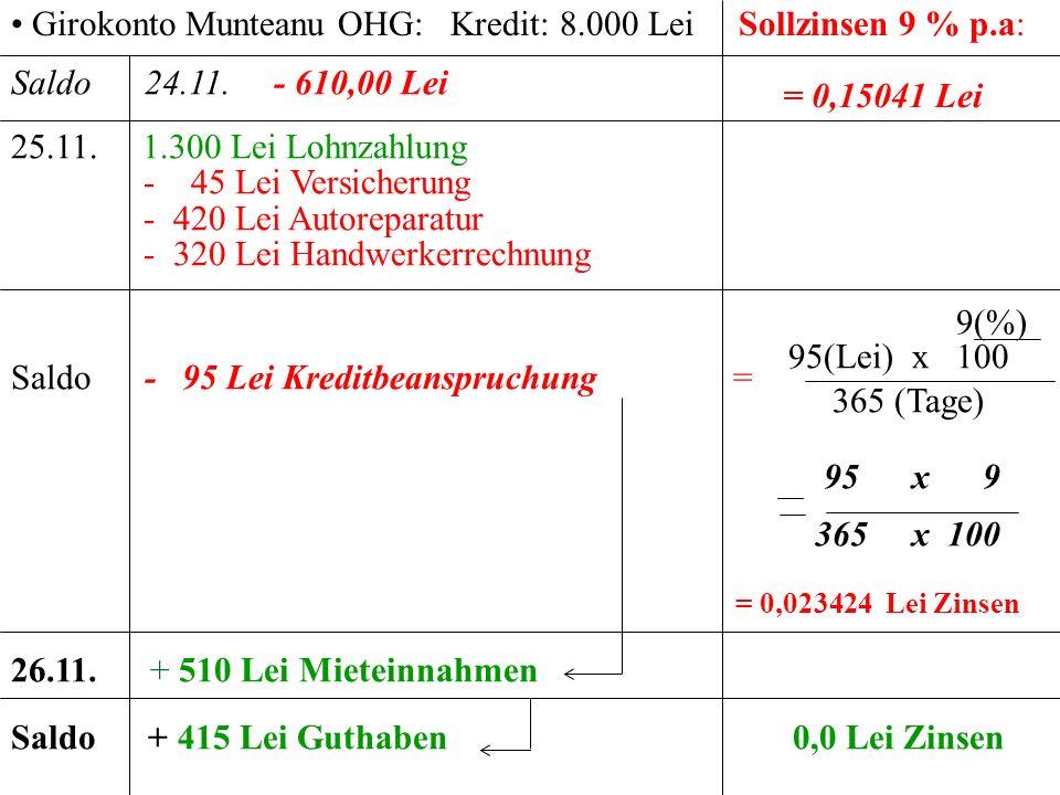 Girokonto Munteanu OHG: Kredit: 8.000 Lei Sollzinsen 9 % p.a:
