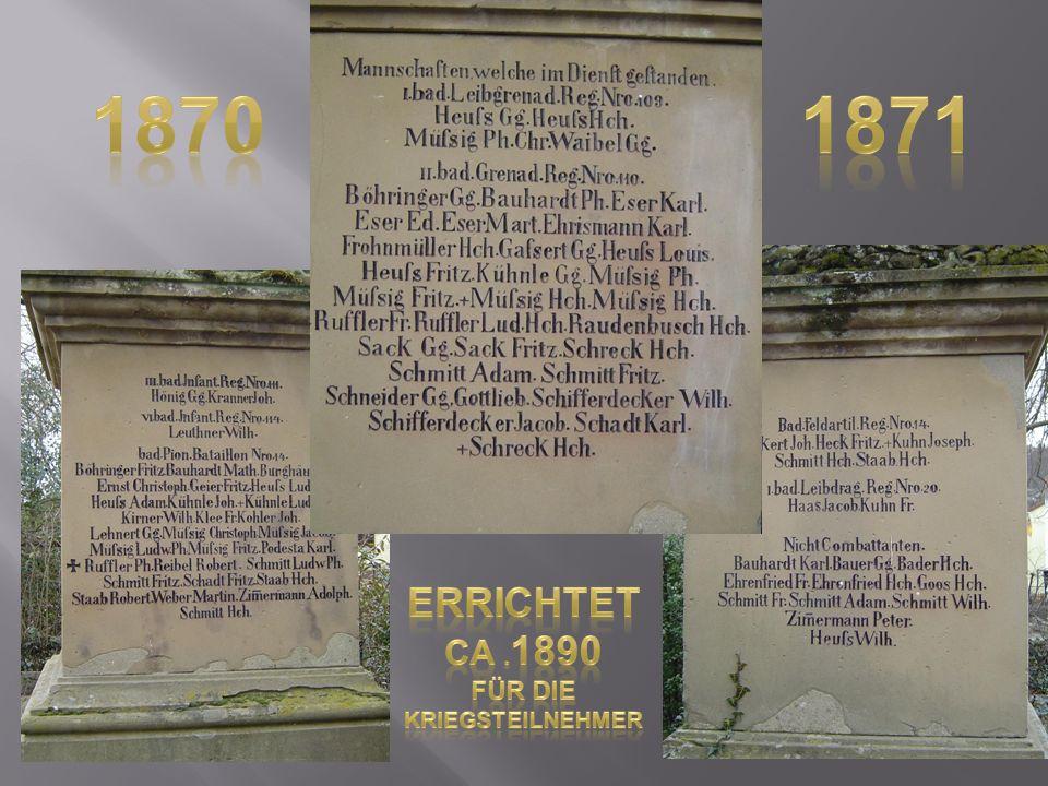 1870 1871 errichtet ca .1890 Für die Kriegsteilnehmer