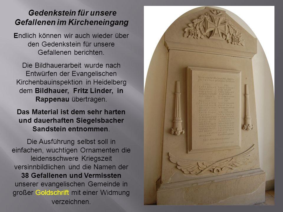 Gedenkstein für unsere Gefallenen im Kircheneingang