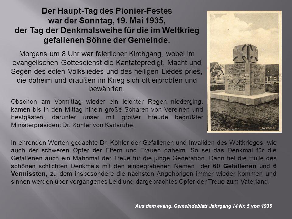 Der Haupt-Tag des Pionier-Festes war der Sonntag, 19. Mai 1935,
