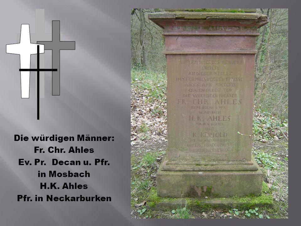 Die würdigen Männer: Fr. Chr. Ahles. Ev. Pr. Decan u.