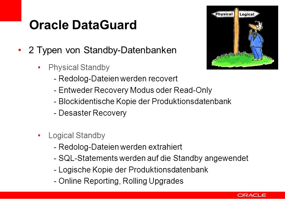 Oracle DataGuard 2 Typen von Standby-Datenbanken Physical Standby