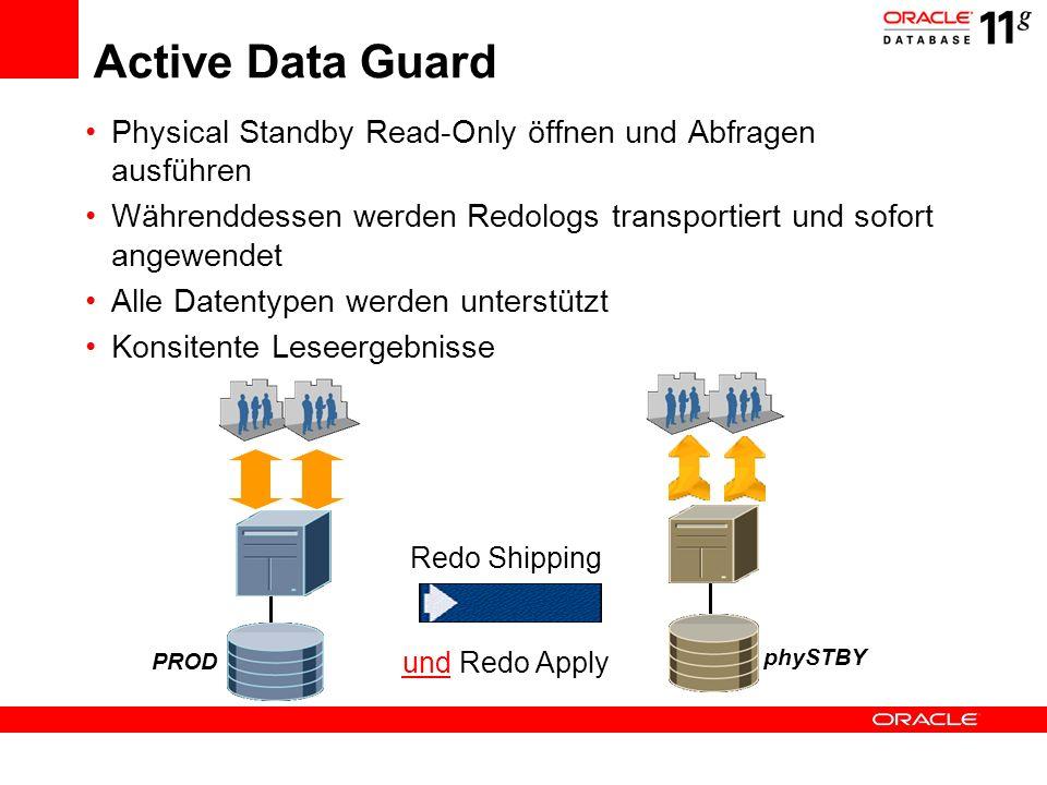 Active Data Guard Physical Standby Read-Only öffnen und Abfragen ausführen. Währenddessen werden Redologs transportiert und sofort angewendet.