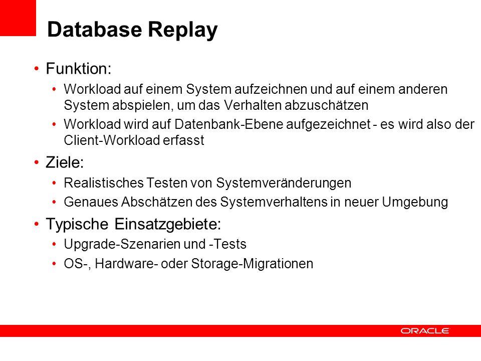Database Replay Funktion: Ziele: Typische Einsatzgebiete: