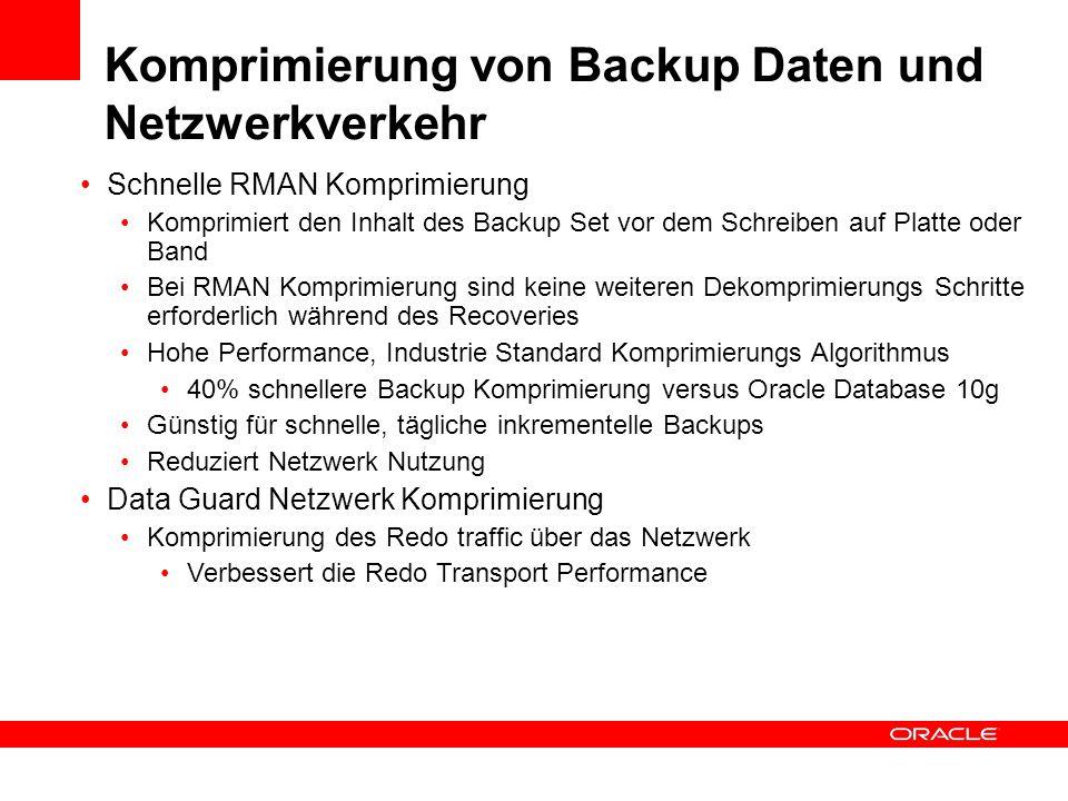 Komprimierung von Backup Daten und Netzwerkverkehr