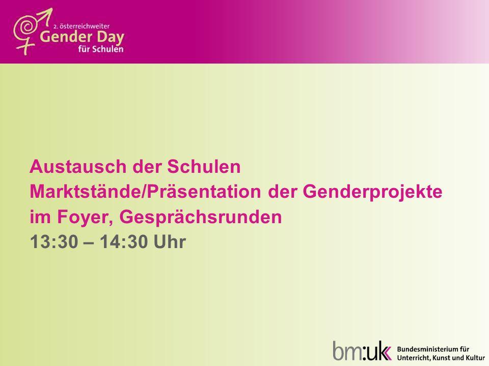 Austausch der Schulen Marktstände/Präsentation der Genderprojekte.