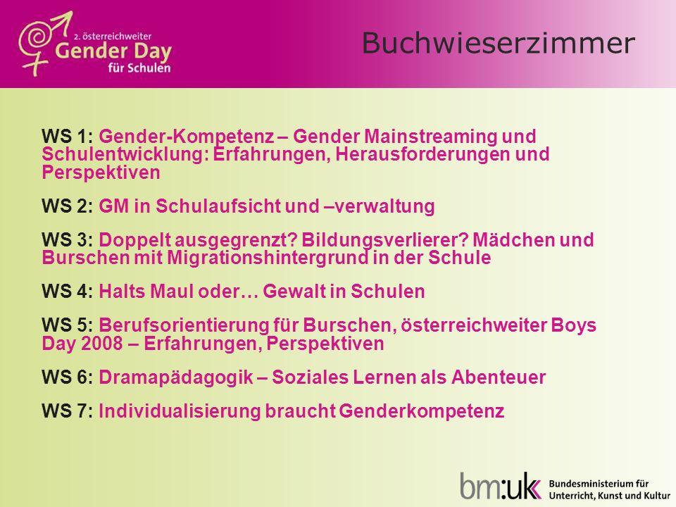 Buchwieserzimmer WS 1: Gender-Kompetenz – Gender Mainstreaming und Schulentwicklung: Erfahrungen, Herausforderungen und Perspektiven.